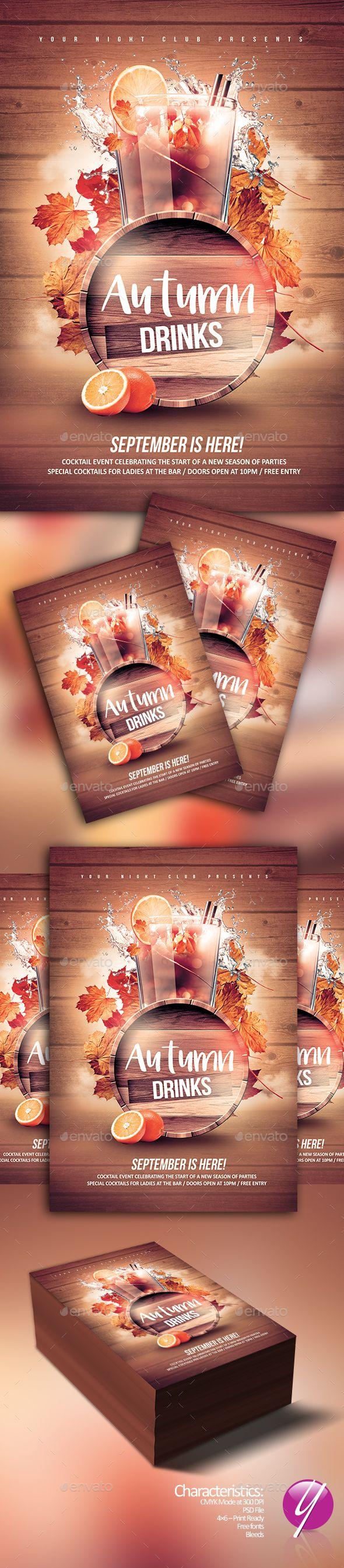 Autumn Drinks Flyer Template PSD. Download here: https://graphicriver.net/item/autumn-drinks/17501822?ref=ksioks