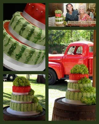 fun watermelon wedding cake! .......................put the football couple cake topper on the top