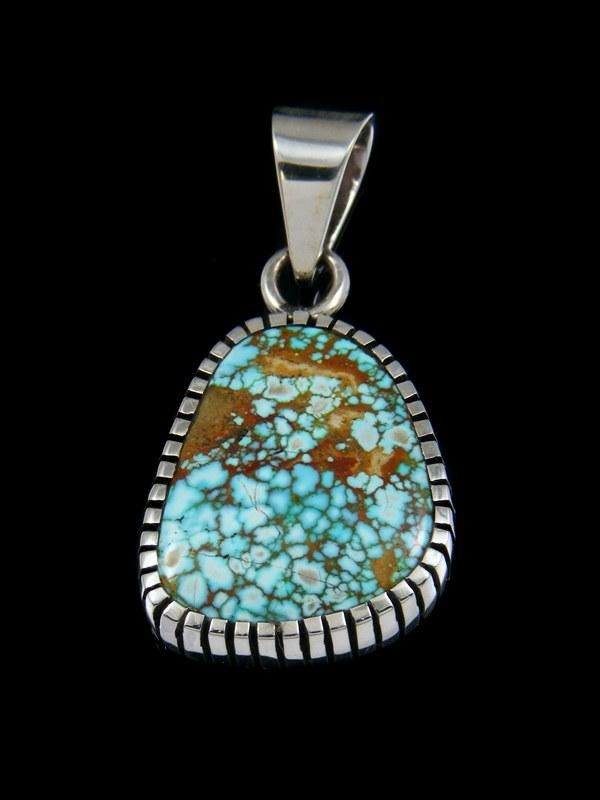 Natural Number Eight Turquoise Sterling Silver Ingot Pendant
