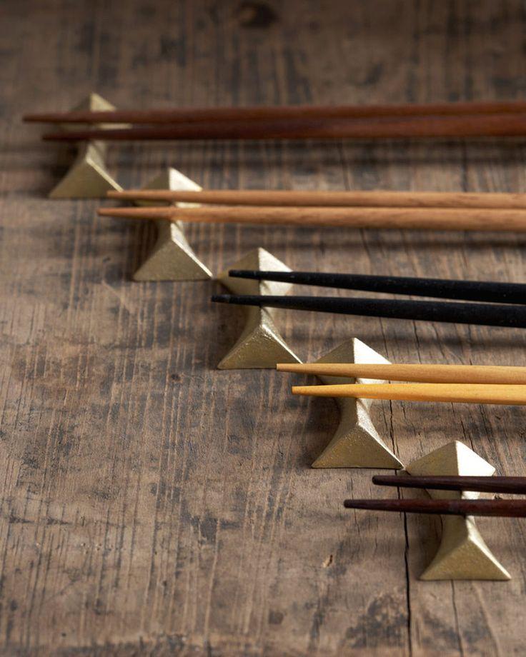 Brass Chopstick Rests by Masanori Oji, Japan