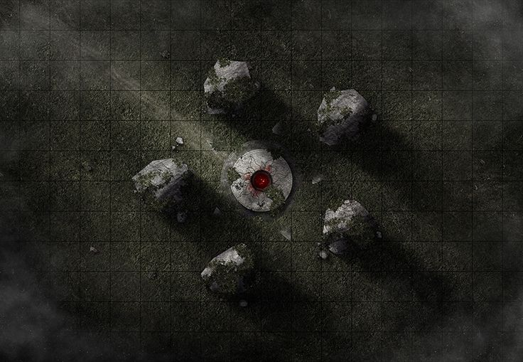 The Blood Shrine, a printable battle map for Dungeons and Dragons / D&D, Pathfinder and other tabletop RPGs. Tags: shrine, field, forest, blood, fog, undead, puzzle, horror, encounter, point defense, stones, altar, print