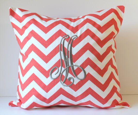 Monogrammed Pillow Cover - Chevron - Personalized - 18 x 18 - Nursery Decor - Dorm Decor - Sorority - Wedding - Bridal