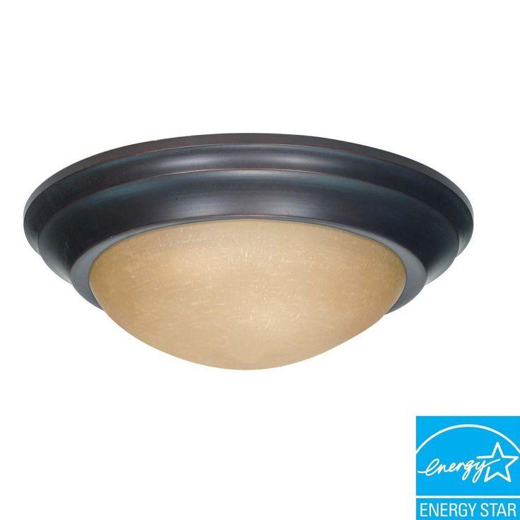 Green Matters 3-Light Flush-Mount Mahogany Bronze Light Fixture