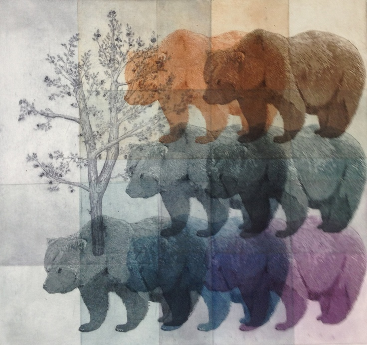 Whitebark Pine and Grizzly Bear Etching Monoprint. Julia Lucey