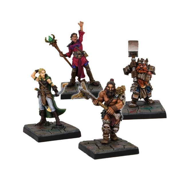 Dungeon Saga: The Dwarf King's Quest by Mantic Games — Orlaf, Rordin, Madriga, Danor plastic miniatures