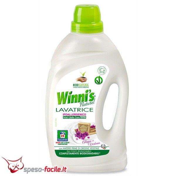 € 5,55  WINNI'S LAVATRICE LIQUIDO ALEPPO E VERBENA. Il detersivo lavatrice Winni's grazie alla formula con materie prime di origine vegetale è ipoallergenico.
