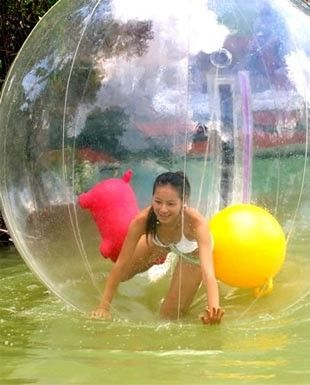 Inflatable Walk On Water Ball! Where adults can be kids too :-)  Looks like a lot of fun, however, very expensive though.