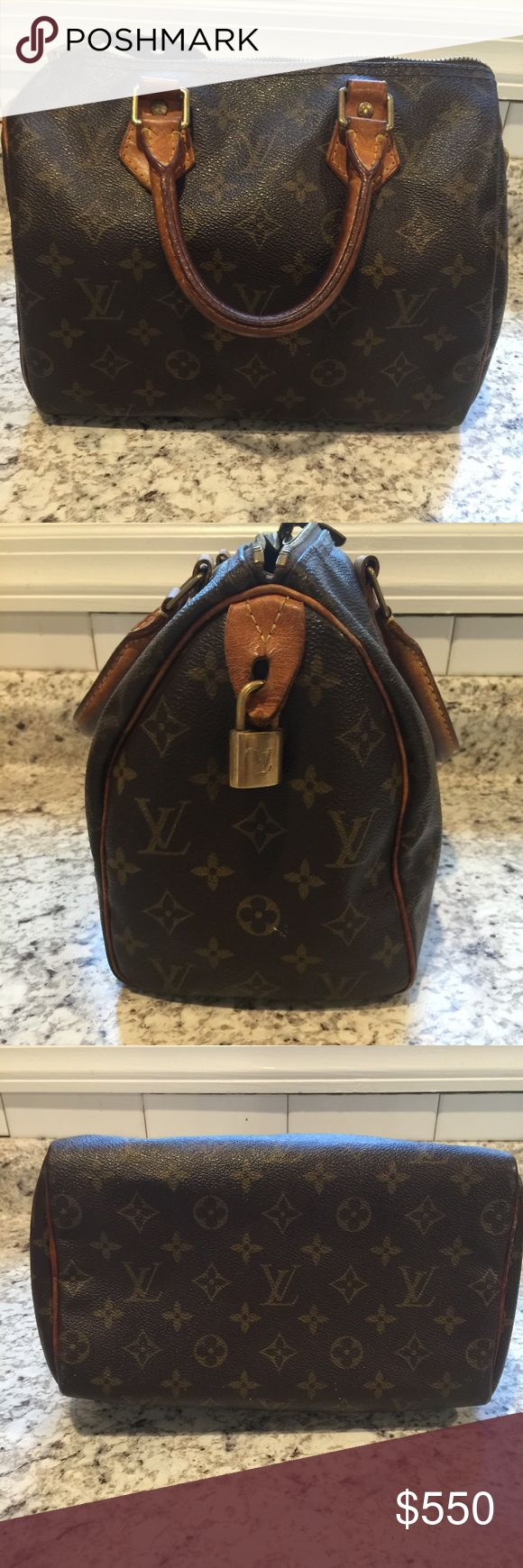 Authentic Louis Vuitton speedy Used condition. Zips perfectly. One pen ink stain on inside pocket. Other than that, so other signs of damage Louis Vuitton Bags Totes