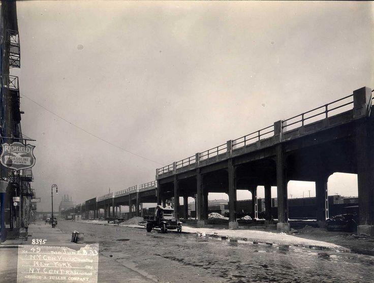 High Line anni 20 - vintage picture - black and white - ferrovia sopraelevata - new york