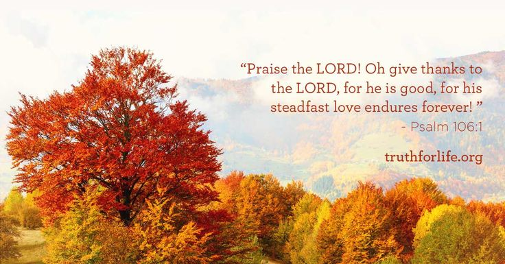 """""""Praise the LORD! Oh give thanks to the LORD, for he is good, for his steadfast love endures forever! """" - Psalm 106:1"""