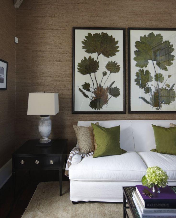 Nature inspired artwork textured tan wallpaper white for Nature wallpaper for living room