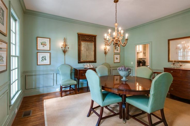 Tiffany blue dining room and leather chairs, cheek Rd