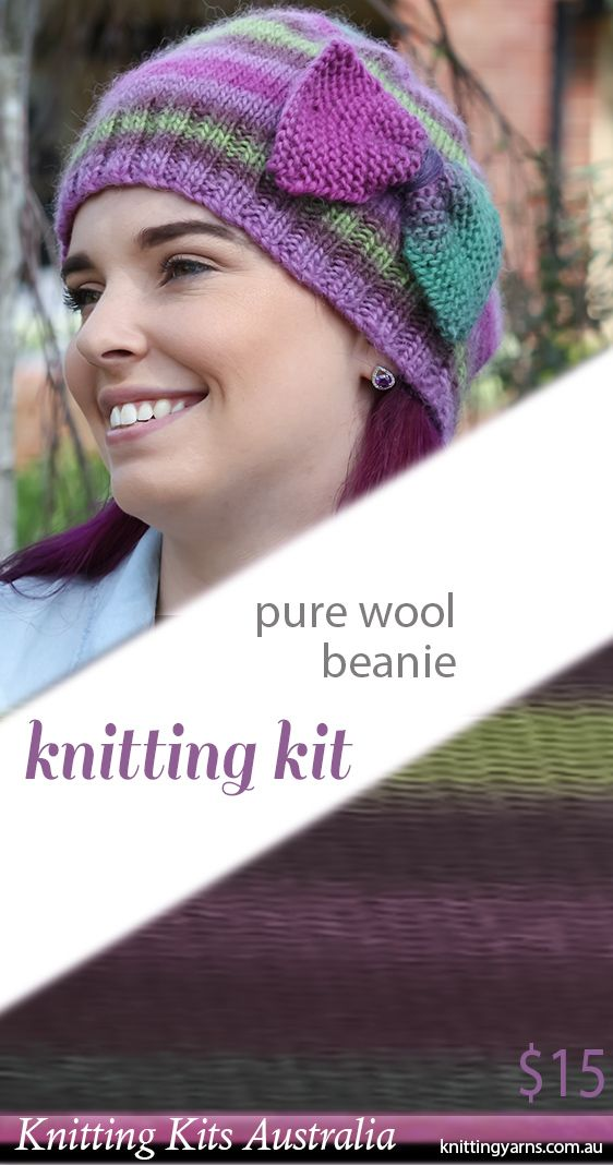 Cleckheaton multi-shade yarn and exclusive beanie with bow pattern leaflet, just $15 inside this Knitting Kits Australia kit.  Wear a neutral coloured coat to add a splash of colour, or match one of the stripe shades to your outfit to balance your look from head to toe. Find more knitting kits in-store now.