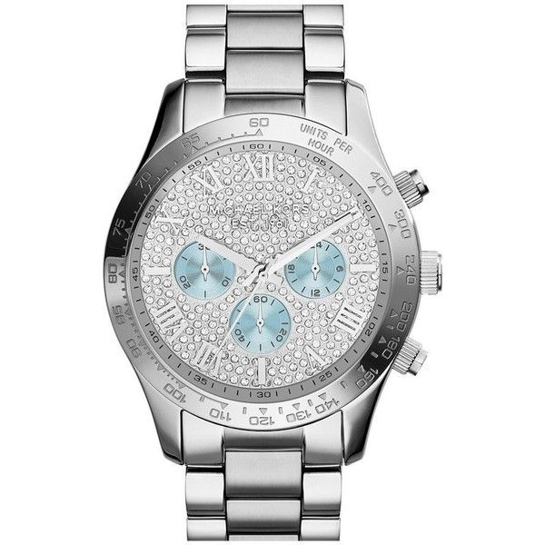 Michael Kors Layton Silver Crystal Pave Dial Steel Ladies Watch ($222) ❤ liked on Polyvore featuring jewelry, watches, blue steel jewelry, analog wrist watch, silver crown, michael kors watches and dial watches