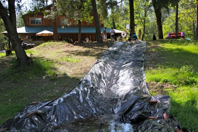 how to make a homemade water slide - Google Search