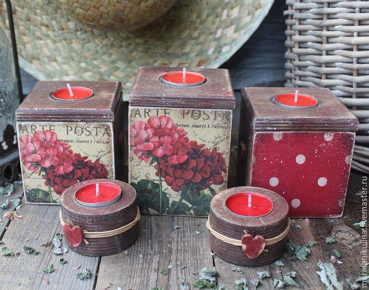 """Купить """"Французская герань"""" подсвечники - ярко-красный, коричневый, герань, французский стиль, деревенский стиль"""