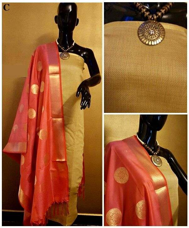 Fabric details...Cotton/Chanderi/Silk  Top 2.5 meters  Dupatta 2.5 meters  NO BOTTOM PROVIDED  No colour bleeding..Only hand wash...  Code D Salwars  (Reversible Dupatta) are singles...no multiple pieces is same design.