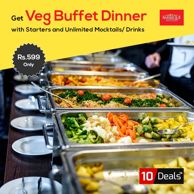 Looking for exciting #Dinner #buffet #deals? Book a table at #TheBarbequeParadise and enjoy Veg Dinner Buffet With Starters Drinks in Rs.599 Only