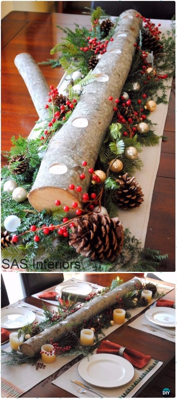 DIY Holiday Wood Log Centerpiece Instructions - Raw Wood Logs and Stumps DIY Ideas Projects