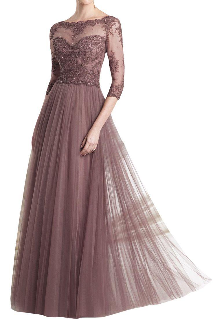 TOSKANA BRAUT Modisch mit Aermeln Tuell Spitze Abendkleider Lang Brautmutter Fest Party Ballkleider-32-Bildfarbe