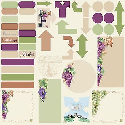 Reminisce WRATH OF GRAPES 12x12 JOURNALING Sticker Sheet WINE 99 CENT SALE!