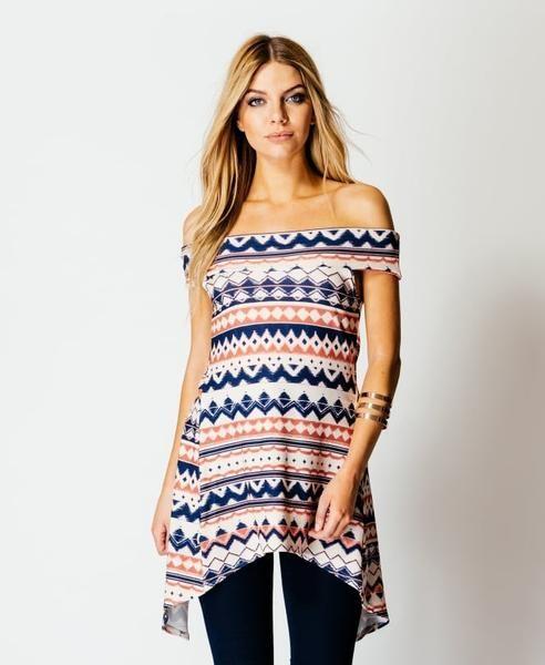 Aztec Print Bardot Off The Shoulder Open Back Top