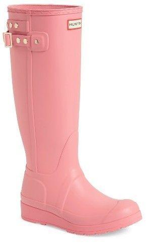 Women's Hunter Original Tall Studded Wedge Rain #Boot.