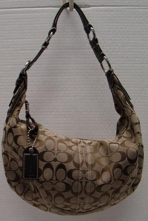 Coach 10601 Jacquard Hobo Khaki Brown Leather Strap Purse Signature C Handbag Handbags Accessories Pinterest Fashion And