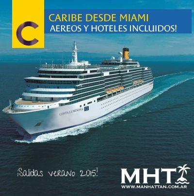 #Caribe desde Miami con Costa! 3 salidas #verano 2015, 10 noches, con aéreos desde Buenos Aires y hoteles incluidos!