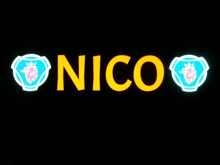 Plaque prénom camion NICO (Scania)