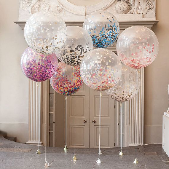 Giant Round Clear Balloons with confetti inside weddings, birthdays party decor