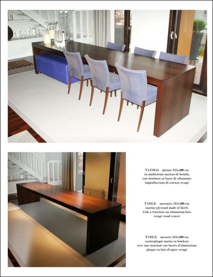 Table Africa Table Measures: 115 x 400 x 8 cm; made of birch marine plywood,with a structure of aluminum bars, wenge' wood veneer.