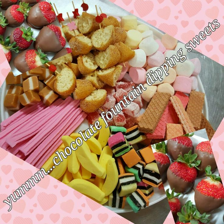 Chocolate fountain dipping foods. Great for all celebrations.