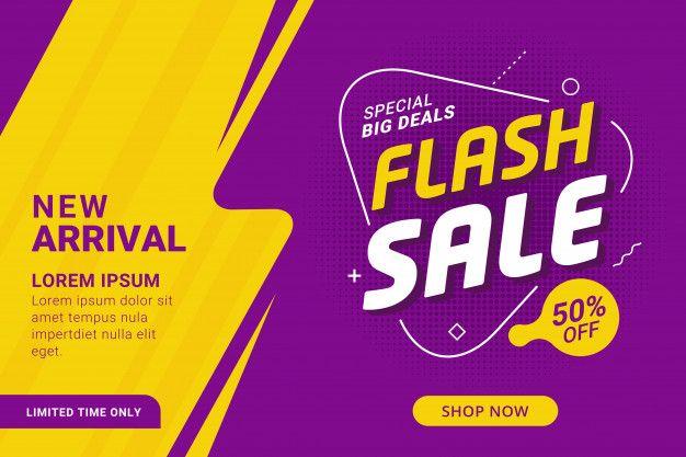 Flash sale discount banner template promotion premium vector.