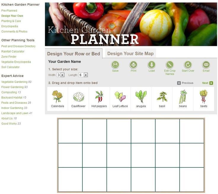 kitchen garden planner (drag & drop). Set your own custom dimensions. Gives you growing info as well.