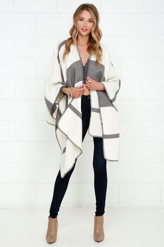 Mountainside Villa Grey and Ivory Striped Poncho
