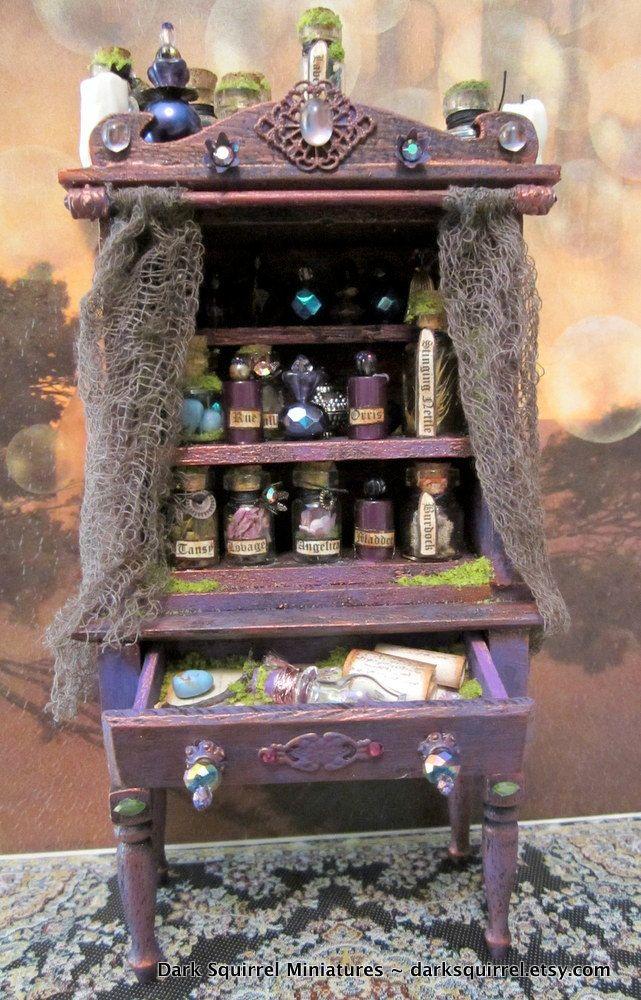 Witch's Herb Cupboard ooak dollhouse miniature in 1/12 scale.