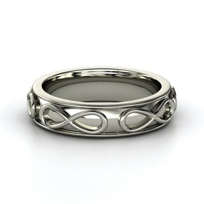 Men's 14K White Gold Ring | Men's Infinity Band | Gemvara