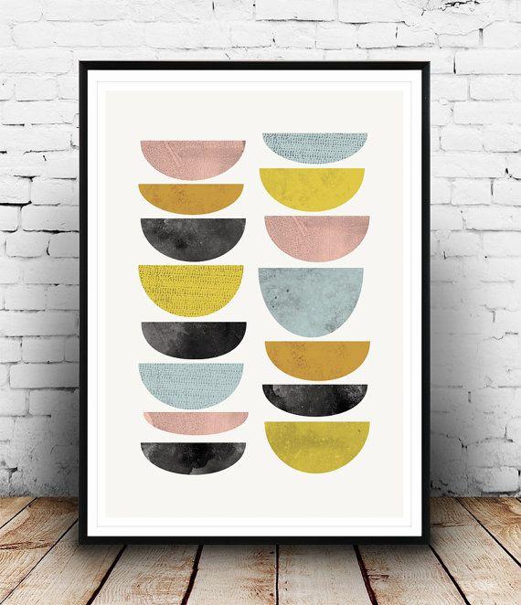 Abstract art, Watercolor print, Geometric art, Mid centruy modern, Abstract wall art, Colorful print, Scandinavian print, modern print, Dimensions
