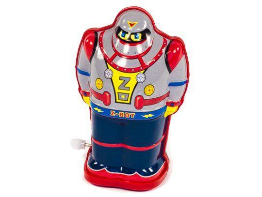 Kleine robot grijs *** Ga terug naar vroeger met deze mooie blikken robot. Nostalgische robot in een retro-uitvoering. Deze favoriete robotjes zijn opwindbaar en gaan traagjes vooruit. Cool speelgoed beschikbaar in de kleuren blauw, rood en grijs.