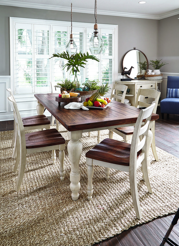 Diy Dining Table Ashleys Marsilona Love The Dark And Light Wood Together