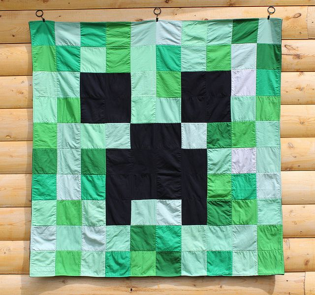 Minecraft Creeper Quilt, via Flickr.
