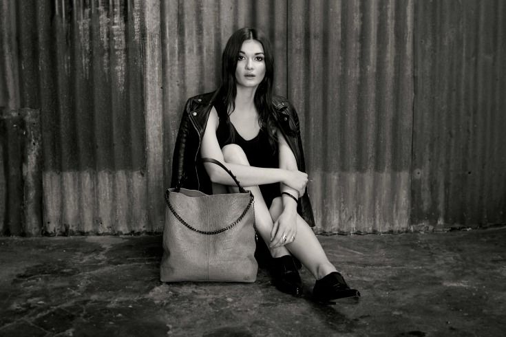 A leather bag by SUPERHOUSE