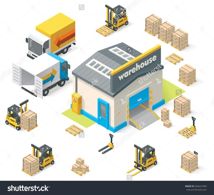 Vector Isometric Icon Set Representing Warehouse Building, Truck, Forklift Loading Goods In Crates - 266621090 : Shutterstock