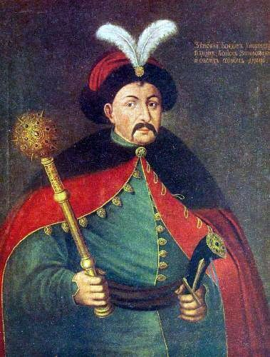 Bogdan Khmelnitsky- Polish: Bohdan Zenobi Chmielnicki (c. 1595 – 6 August 1657), was the Hetman of the Zaporozhian Host of the Crown of the Kingdom of Poland in the Polish–Lithuanian Commonwealth (now part of Ukraine). He led an uprising against the Commonwealth and its magnates (1648–1654) which resulted in the creation of a Cossack state. In 1654, he concluded the Treaty of Pereyaslav with the Tsardom of Russia, which led to the eventual loss of independence to the Russian Empire.