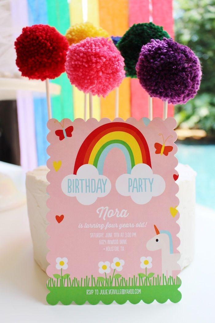 wording0th birthday party invitation%0A Invitation from a Rainbow Unicorn Birthday Party via Kara u    s Party Ideas    KarasPartyIdeas com