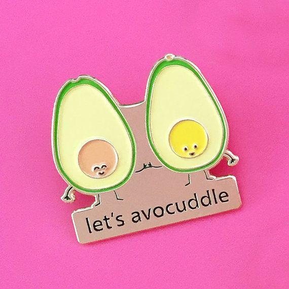 Let's Avocuddle Enamel Pin  avocado cuddle food by queeniescards