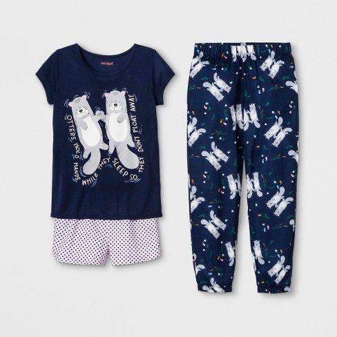 3bda2a6149d Girls' Otter Print 3pc Pajama Set - Cat & Jack™ Blue M in 2019 ...