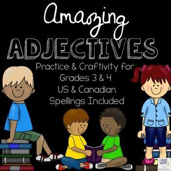 This mini-unit will help you teach your 3rd and 4th graders all about adjectives. Also included is a craftivity to help your students use positive adjectives to describe themselves. In this file, you will find: • 1 full coloured poster describing what adjectives are • 2 full coloured posters that provide examples of adjectives • 1 black & white cover