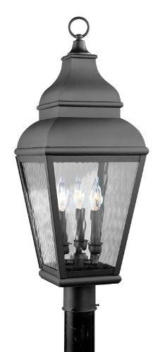 "Livex 2606-04 Exeter Outdoor Post Head Black by Livex. $510.21. 3 60w Cand. Finish: Black Glass / Shade: Clear Water Glass. 10""Wx29.5""H. Livex Lighting 2606-04 Black Outdoor Post Head Exeter 10""Wx29.5""H, 3 60w Cand, Clear Water Glass Glass / Shade Solid Brass"